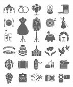 Wedding Icons Dark Silhouettes