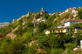 Historical UNESCO protected town of Gjirocaster with a castle on the top of the hill, Southern Alban