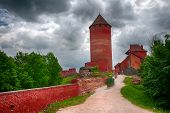 Red castle Turaida near the town of Sigulda, Latvia