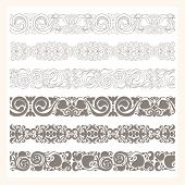 stock photo of six-petaled  - set of six different borders ornaments - JPG