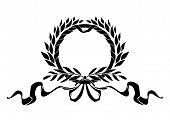 Black heraldic wreath with elements