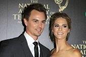 BEVERLY HILLS - JUN 22: Darin Brooks, Kelly Kruger at The 41st Annual Daytime Emmy Awards Press Room