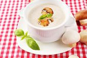 Mushroom soup in white pot, on napkin background