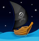 Sail boat with pirate symbol on a night background