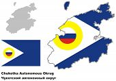 picture of chukotka  - Outline map of Chukotka with flag - JPG