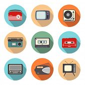 Collection of retro radio and TV icons in flat design style
