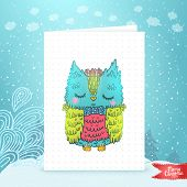stock photo of snow owl  - Merry Christmas greeting card background with an owl - JPG