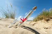 Message in a clear glass bottle washed up on the beach concept for sos, assistance, help and strande