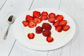 Strawberry in white plate