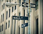 Street signs of Wall street and New street in New York City