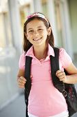 image of pre-teen girl  - Pre teen girl at school - JPG