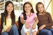 stock photo of pre-teen  - Pre teen girls in school - JPG