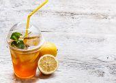 pic of iced-tea  - Fresh ice tea in plastic cup - JPG
