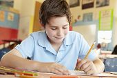 stock photo of pre-teen boy  - Pre teen boy in art class - JPG