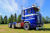 Blue Scania 143H Truck Tractor In A Show