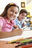 image of pre-teen boy  - Pre teen children in art class - JPG