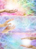 stock photo of shaman  - Three different healing hands website banners with rainbow colored energy formation backgrounds - JPG