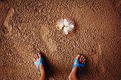 Tropical Beach, Legs In Sand.