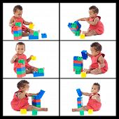 Collage beautiful baby playing with building blocks isolated on white background