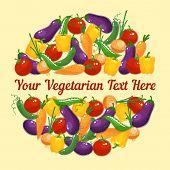 Circular design for a vegetarian greeting card