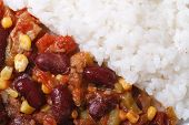 Chili Con Carne And Rice Macro Horizontal Top View Details