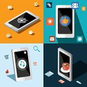 Four smart phones in panels