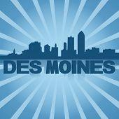 Des Moines skyline reflected with blue sunburst illustration