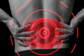 image of red back  - Acute pain in a male lower back black and white image pain area of red color - JPG