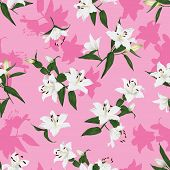 Hawaiian lilies pink seamless print