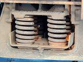 image of railroad car  - a close up of a railroad car springs - JPG