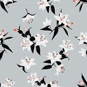 Exotic lilies grey seamless vector print