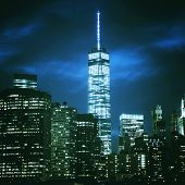 Night shot of One World Trade Center