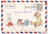 pic of teddy  - vintage postcard with scratches with the image of the Teddy bear rabbit gifts and greetings with Christmas - JPG