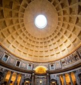 Interior of Rome Pantheon with the famous ray of light from the top