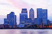 London Canary Wharf cityscape at dusk