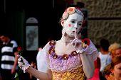 Woman mime in Krakow