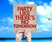 Party Like There's No Tomorrow card with a beach on background
