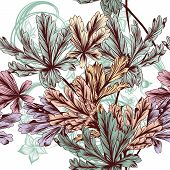Floral Vector Seamless Background With Pastel Foliage