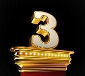 Number Three on a golden platform with brilliant lights over black background