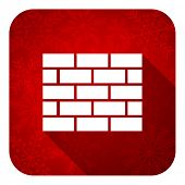 firewall flat icon, christmas button, brick wall sign