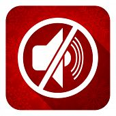mute flat icon, christmas button, silence sign