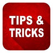 tips tricks flat icon, christmas button