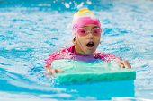 Little Girl Take A Swimming Course