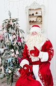 Saint Nicolas with a bag of gifts sits near a Christmas fir-tree