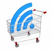 Abstract Image Symbol Wi-fi In The Shopping Cart. Illustration. 3D