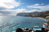 the ocean, Madeira coast and lava swimming pool in Funchal
