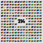 Set of two hundred and fourteen national flags that celebrate Independence Day