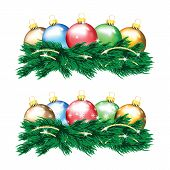 Set Of Colorful Christmas Balls And Christmas Tree Isolated On White Background
