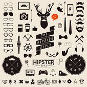 stock photo of mustache  - Huge set of vintage styled design hipster icons Largest set of phone - JPG