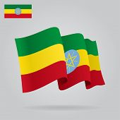 Background with waving Ethiopian Flag. Vector